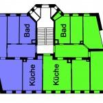 Geplante neue Aufteilung der Wohnungsgeschoße